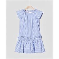 Elsy abito corto in cotone a righine azzurre con gonna arricciata 4-7 anni