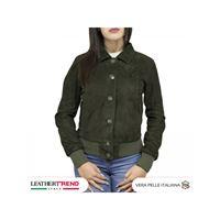 Leather Trend Italy bomber donna primaverile con bottoni collo a camicia pelle camoscio