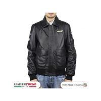Leather Trend Italy aviatore uomo in pelle vera di agnello toppe aeronautica
