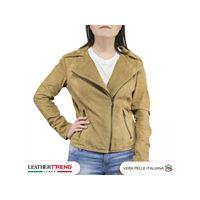 Leather Trend Italy chiodo biker donna in vera pelle camoscio primaverile