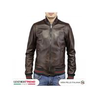 Leather Trend Italy david - bomber uomo in vera pelle testa di moro invecchiata special