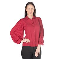 Paola P. by PaolaPrata camicia in georgette con maniche plissé