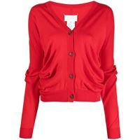 Maison Margiela cardigan con scollo a v crop - rosso