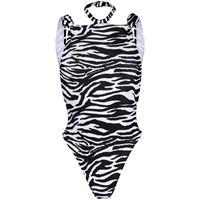 The Attico zebra-print halterneck swimsuit - nero