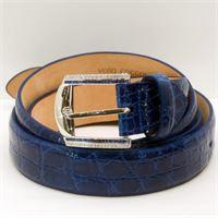 Domenico Bertero fibbia d'oro bianco diamanti e zaffiri con cintura in coccodrillo blu