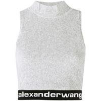 alexanderwang.t top con stampa crop - grigio