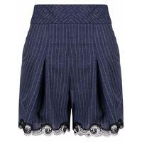 Koché shorts gessati a vita alta - blu