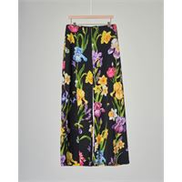 Elsy pantalone nero a palazzo con stampa floreale 36-38