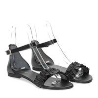 Il laccio sandalo pelle nera