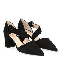 Il Laccio sandaliera sfilata camoscio nero