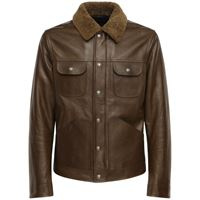 TOM FORD giacca in pelle lucida con shearling