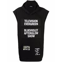 Raf Simons felpa television evergreen smanicata - nero