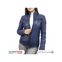 Leather Trend Italy biker donna in vera pelle made in italy tamponato a mano