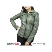 Leather Trend Italy biker donna in vera pelle artigianale tamponato a mano