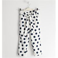 Sarabanda - pantalone elegance bianco pois grandi blu con cintura ragazza