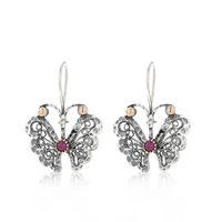 Ottoman Silver orecchini argento 925 design a farfalla con corindoni