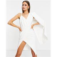 Lavish Alice - vestito a tubino monospalla bianco con spacco e mantella