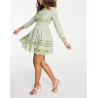 ASOS DESIGN - vestito skater corto in pizzo verde salvia