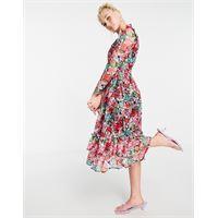 Little Mistress - vestito skater midi a maniche lunghe con volant e stampa con fiori rosa-multicolore