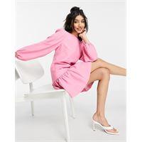 Forever New - vestito corto strutturato con orlo con volant e maniche a palloncino rosa