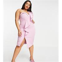 Lavish Alice Plus - vestito midi monospalla drappeggiato a corsetto con volant rosa lilla