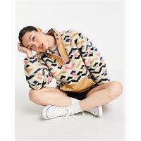 Levis levi's - arizona - pullover in pile borg con cerniera lampo corta multicolore