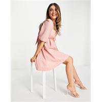 Forever New - vestito corto a baby doll rosa cipria polvere con fiocco sulla schiena e maniche a sbuffo