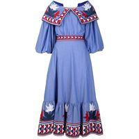 Stella Jean abito svasato con ricamo - blu