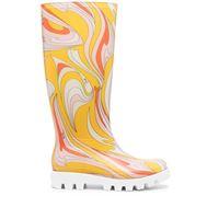 Emilio Pucci stivali da pioggia con stampa - giallo
