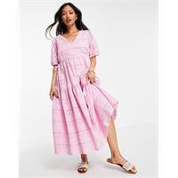 Y.A.S - vestito midi in cotone organico rosa con scollo a v e dettagli traforati