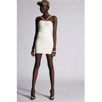 Dsquared2 donna vestito bianco taglia 38 100% pelle di pecora