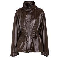 Bottega Veneta giacca in pelle con cappuccio