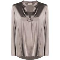 Blanca Vita blusa con spacco brenda - grigio