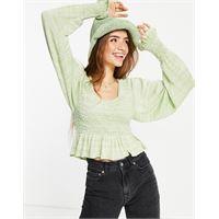 Free People - free spirit - blusa arricciata-verde