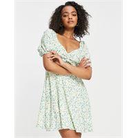 Forever New - vestito corto con maniche a sbuffo e cut-out color pistacchio a fiorellini-multicolore