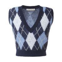 ALESSANDRA RICH gilet in maglia di misto lana con cristalli