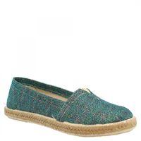 Leonardo Shoes espadrillas slip-on con punta arrotondata da donna in tessuto verde fatte a mano 5500 stardust verde