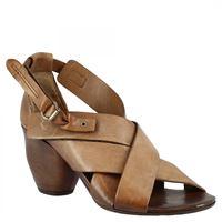 A.S.98 sandali con tacco da donna fatti a mano in pelle di vitello marrone chiusura con fibbia 004 ebano