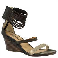 A.S.98 sandali da donna con tacco in pelle di vitello nero platino chiusura con cerniera posteriore 007 nero/oro