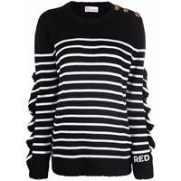 RED Valentino horizontal-stripe long-sleeve jumper - nero