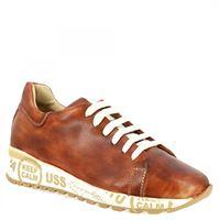 Leo's sneakers keep calm da donna fatte a mano in pelle di vitello marrone calm stampa marrone