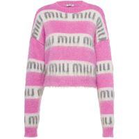 Miu Miu maglione con logo - rosa