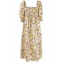 Rixo abito midi a fiori saskia - giallo