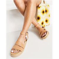 Vagabond - erin - sandali flatform in pelle con cinturino alla caviglia, colore beige-nessun colore