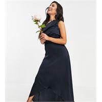 TFNC Petite - vestito lungo monospalla da damigella blu navy-rosa