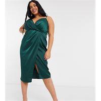 Little Mistress Plus - vestito a portafoglio in raso verde bosco