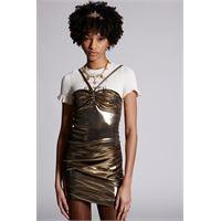 Dsquared2 donna vestito bronzo taglia 36 75% acetato 22% poliammide 3% elastan