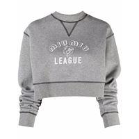Miu Miu felpa con stampa league crop - grigio