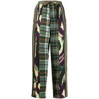 Pierre-Louis Mascia pantaloni con stampa patchwork crop - verde