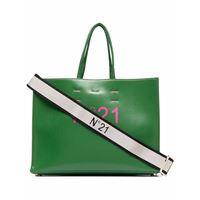 Nº21 borsa tote con stampa - verde